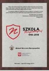 """Certyfikat """"Szkoła Niepodległej"""" dla SP nr 5 wBiłgoraju"""